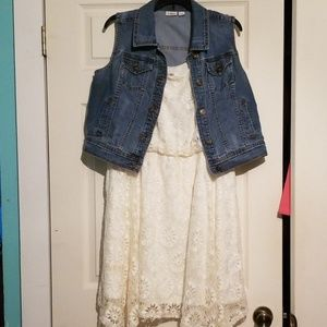 Large cato denim vest, XL cato Lace dress